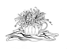 This darling free coloring page for adults features a teacup just bursting with blooms. #FaveCrafter
