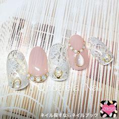 ネイル 画像 シンデレラ☆ネイル 小野 1570014 クリア 白 ピンク オフィス ブライダル 入学式 ミディアム