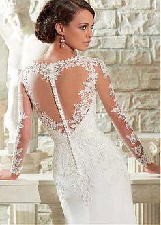 Buy discount Elegant Tulle & Chiffon Long Sleeves V-neck Neckline Natural Waistline Sheath Wedding Dress at Dressilyme.com