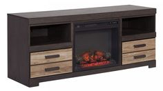 Harlinton Gray/Charcoal TV Stand w/ Fireplace