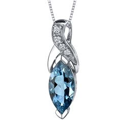 London Blue Topaz Marquise Twist Pendant Necklace Sterling Silver Rhodium Nickel Finish 175 Carats >>> See this great product.
