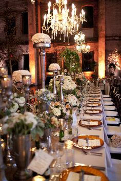 Jaw-dropping reception design with florals and chandeliers galore Photography by Brandon Werth Photography / Wedding Receptions, Reception Decorations, Table Decorations, Reception Ideas, Long Table Wedding, Reception Design, Jasmin, Wedding Inspiration, Wedding Ideas