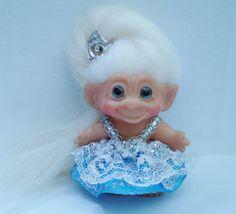 Vintage DAM Troll Doll Gorgeous Fairy Princess Long White Hair