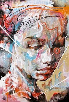 """Drenched in Reflection"" - Danny O'Connor (Doc) {contemporary #expressionist art female head abstract woman face portrait grunge painting drips #loveart}"