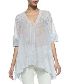 USD 895  NOW:  USD 537 Donna Karan Half-Sleeve Semisheer Floral Blouse