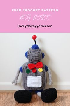This amigurumi robot is soft enough to cuddle. Instead of nuts and bolts, he's made with yarn and love. Learn how to make him with this free crochet pattern! #crochetfreepattern #crochetrobot #amigurumirobot #crochetrobotfreepattern Cute Crochet, Crochet Yarn, Crochet Toys, Afghan Crochet Patterns, Amigurumi Patterns, Knitting Patterns, Lovey Dovey, Love Is Free, Crochet Videos