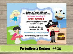 329 DIY  Fairies and Pirate Party by PartyAllsortsDesigns on Etsy