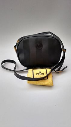 1014fbdca8 FENDI Vintage Black Crossbody  Shoulder Bag. Italian designer purse with a  dustbag