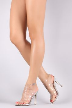 Qupid Lucite Cutout Caged Metallic Stiletto Heel