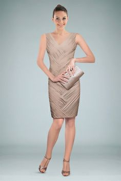 joyous-vneckline-taupe-sheath-cocktail-kneelength-dress-with-intricate-pleats-and-appliques