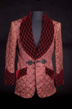 "Charles Boyer ""Gregory Anton"" burgundy smoking jacket from Gaslight. (MGM, Burgundy smoking jacket with velvet ."