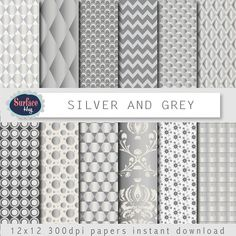 Silver Digital paper SILVER AND GREY background by SurfaceHug, $4.80