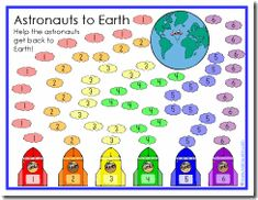 There are currently four different game boards included in the Astronauts to Earth download that can be used to help reinforce the following concepts: numbers, colors, and shapes. There is also a blank game board that can be used to fill in any information that you would like! I am working on another board that can be used for more advanced concepts