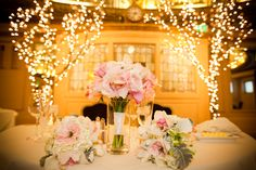 Blush Garden Rose Bouquets with Lillies and Orchids. Branch Wedding Alter with Lights and Flowers. Wedding Planning & Design by Simply Wed