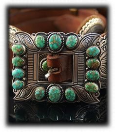 Carico Lake Turquoise Concho Belt For Women