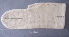 Neulottu tossu ennen huovutusta Crochet Socks, Knitting Socks, Knit Crochet, Diy And Crafts, Slippers, Handmade, Felting, Crocheting, Villa
