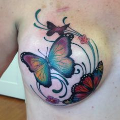 Nice, but more realistic w shadows. in blues and coral colors Tattoos To Cover Scars, Cover Up Tattoos, Body Art Tattoos, Hand Tattoos, Breast Cancer Art, Breast Cancer Tattoos, Nape Tattoo, Scar Tattoo, Survivor Tattoo
