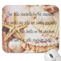 Make your desk your unique space with a new Seashell mouse pad from Zazzle! Tongue Twisters, Mousepad, Seashells, Improve Yourself, English, Tornados, Conchas De Mar, Sea Shells, English Language