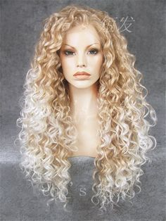 long curly wig golden/white  long curly wig. Heat by chichair, $86.00