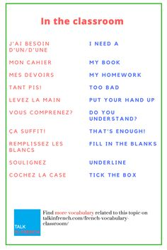 Upgrade your classroom related French vocabulary with these amazing French phrases for the classroom + download the list in PDF format for free! Visit: https://www.talkinfrench.com/french-vocabulary-classroom/