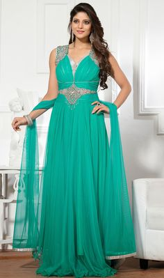 USD 113.40 Sea Green Net Designer Gown 48242