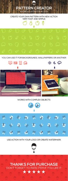 Pattern Maker - Actions Illustrator. Create your own pattern in one click. All you need is some icons or logo.