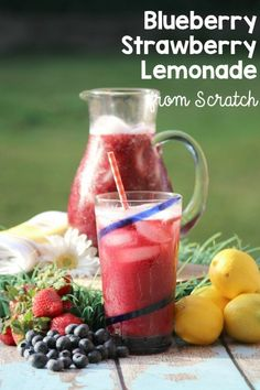 This fresh Blueberry Strawberry Lemonade recipe is so easy to make, it will become a staple at your get togethers. No one has to know this mocktail drink is so quick. It's our little secret. Blueberry Lemonade Recipes, Strawberry Blueberry, Strawberry Lemonade, Mocktail Drinks, Alcoholic Drinks, Beverages, Cocktails, Drinks Alcohol Recipes, Drink Recipes