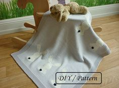 Do knit Yourself! This time I propose to you a funny baby blanket Oliver pattern with six little white rabbits. Take your needles and enjoy knitting this blanket for your baby or for your friends baby ! ♥ This listing is an INSTANT DOWNLOAD pattern (PDF is a 3 pages download file