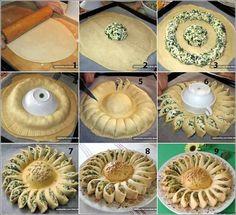 Machbar mit Blätterteig oder Pizzateig. Füllung hier: Feta, Spinat, Frischkäse