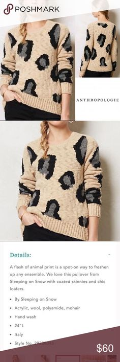 {Anthropologie} sleeping in snow leopard sweater Anthropologie sleeping in snow leopard print sweater. Size Medium. This sweater is in excellent used condition. Anthropologie Sweaters Crew & Scoop Necks