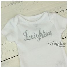 Personalized NAME Custom Personalization shirt bodysuit, Silver or Gold glitter sparkle sparkly sparkling - Newborn infant toddler baby girl by HoneyLoveBoutique