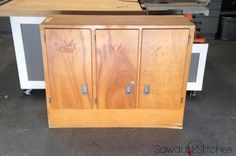 If you've visited a garage sale lately, you've probably seen a wood cabinet just like this one.:  BEFORE