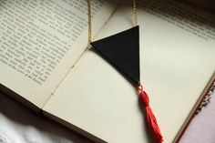Leather Triangle Tassel Necklace Coral Blue or by KatieBetty, £8.00