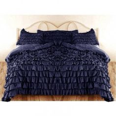 Egyptian Cotton Waterfall Ruffle Duvet Set 1000TC Navy Blue