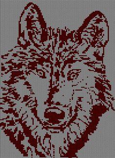 wolf Knitting Machine Patterns, Knitting Stiches, Knitting Charts, Filet Crochet Charts, Cross Stitch Charts, Cross Stitch Patterns, Bead Loom Patterns, Crochet Patterns, Crochet Pullover Pattern