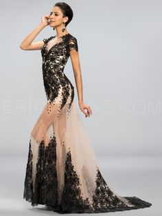 Sexy Bateau Neck Mermaid Applique Court Train Evening Dress 2