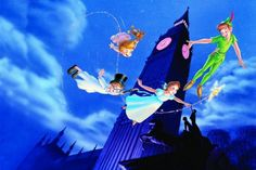 Peter Pan, Tinker Bell, Wendy, John and Michael are all going for a little flight around London. This Disney wallpaper is based upon the 1953 Disney movie, Peter Pan. Disney Pixar, Walt Disney Characters, Film Disney, Disney Animation, Disney Songs, Disney Quotes, Disney Cartoons, Childhood Characters, Disney Facts