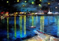 Starry night over the Rhone by  Vincent VanGogh