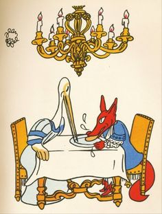 "Postcard Illustration by Jean Effel for Fable by Lafontaine ""The Fox and the Crane"" - Izogiz"