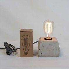 Modern Farmhouse Concrete Lamp with Vintage Style Edison Bulb Vintage Light Bulbs, Vintage Lighting, Concrete Lamp, Concrete Design, Desk Lamp, Table Lamp, Farmhouse Lamps, Modern Farmhouse, Diy Lampe