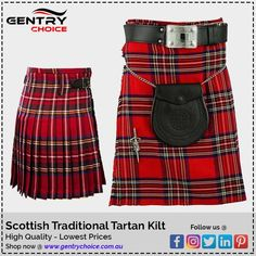 Scottish traditional clothing Royal Stewart Tartan Kilt for sale. This highland kilt is perfect outfit for theme party, wedding or other occasions, Checkout our affordable highland kilt collection online in Australia Kilts For Sale, Royal Stewart Tartan, Tartan Kilt, Wool Fabric, Traditional Outfits, Yards, Special Occasion, Fabrics, Trousers