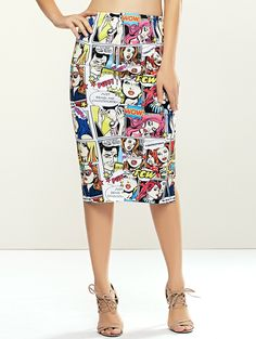 Fashionable Cartoon Beauty Print Midi Bodycon Skirts