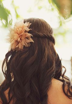 A faux floral hairpiece to soften some beautiful half-up curls | Photo by Shelly Kroeger Photography | Brides.com
