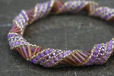 By elegantyoubeads; russian spiral lavendar beaded bangle.