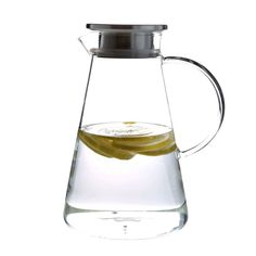 63 Ounces Glass Pitcher with Stainless Steel Lid, Iced Tea and Juice pitcher, Hot/Cold Water Beverage Glass Carafe
