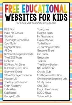Free educational websites for kids Budget Travel, Travel Tips, Educational Websites For Kids, Highlights Kids, Magic School Bus, National Geographic Kids, Learning Activities, Preschool Learning, Preschool Assessment