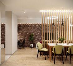 Férfi egyszobás 45m2-es lakásának kényelmes xberendezése - fa térelválasztóval tagolt nappali - konyha, gardróbhelyiség és beépített erkély