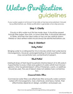 Water Storage Purification Guidelines These water storage purification guidelines will help you work towards storing 2 gallons of purified water per Survival Food, Homestead Survival, Survival Prepping, Survival Skills, Outdoor Survival, Wilderness Survival, Emergency Preparation, Water Storage, Food Storage
