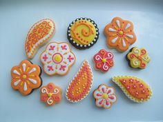 Orange Paisley Cookies by Polka-dot Zebra.