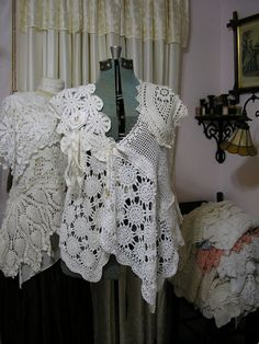 Victorian Shabby Clothing handmade with white creme doilies by TatteredDelicates on Etsy